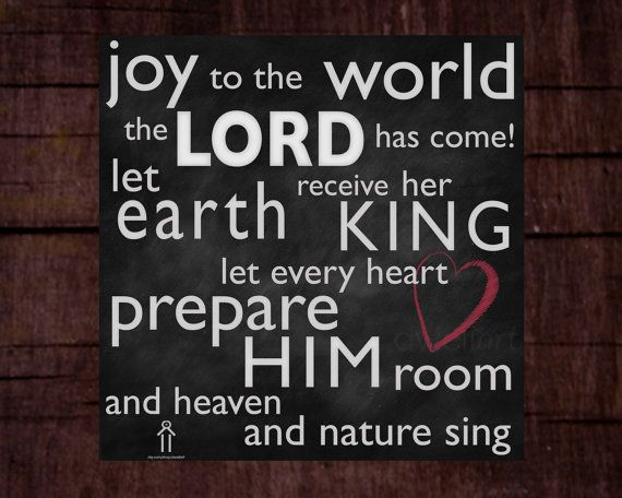 Merry Christmas Quote Wall Art Decal: Joy To The World The Lord Has Come... Printable 8X8