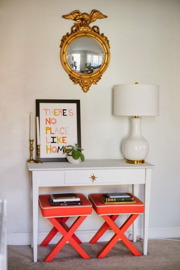 Foyer Table With Stools : Love the stools under console table and white