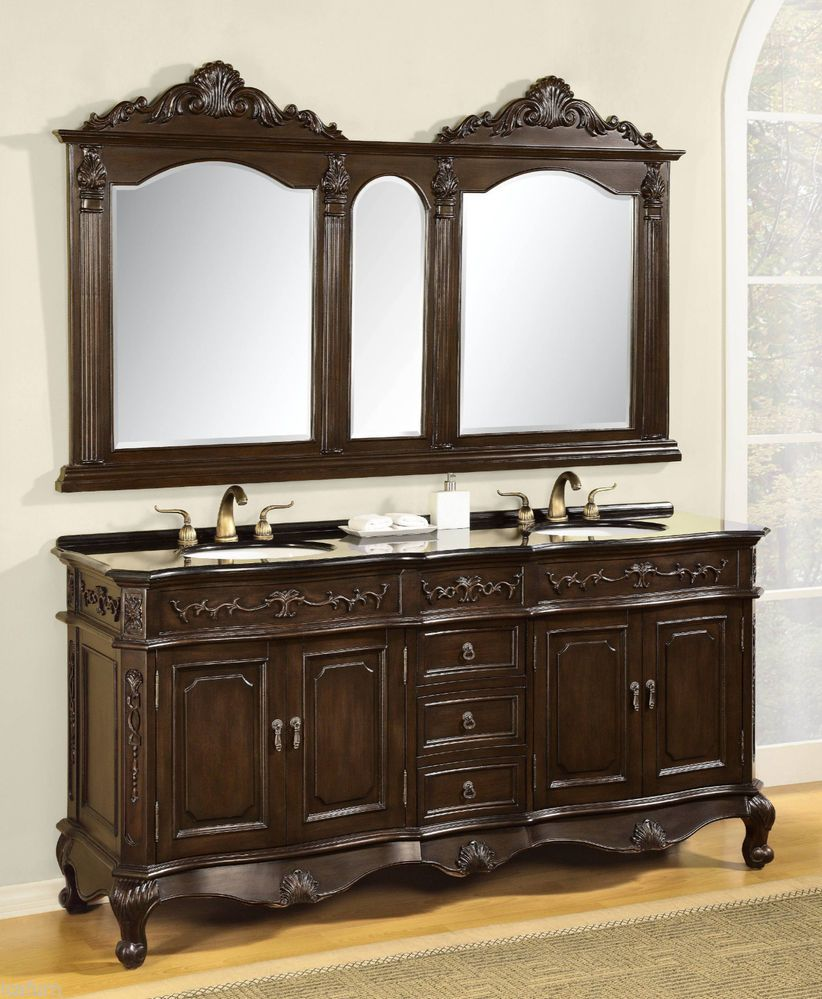 73 Inch Double Bath Vanity with Granite Top and Matching ...