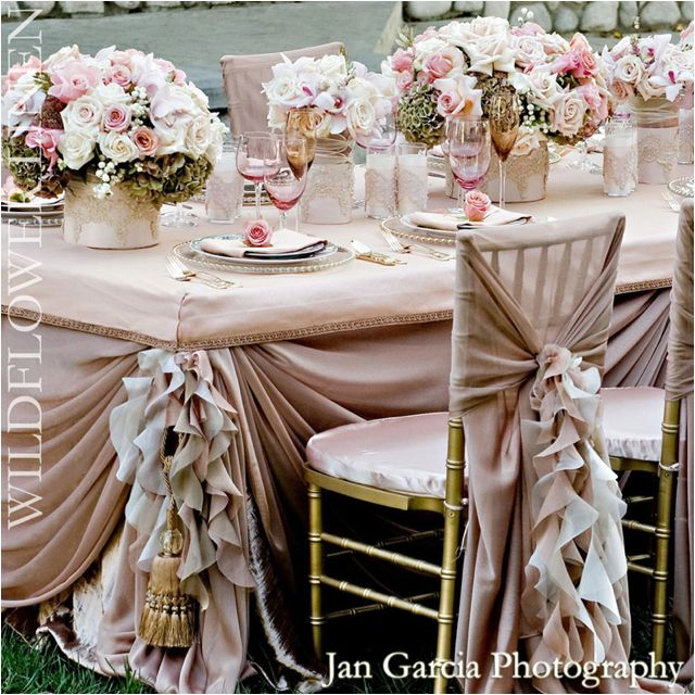 Champagne is naturally romantic & when paired with blush pink, this color scheme creates a classic look that portrays a timeless bygone era of an antique style.