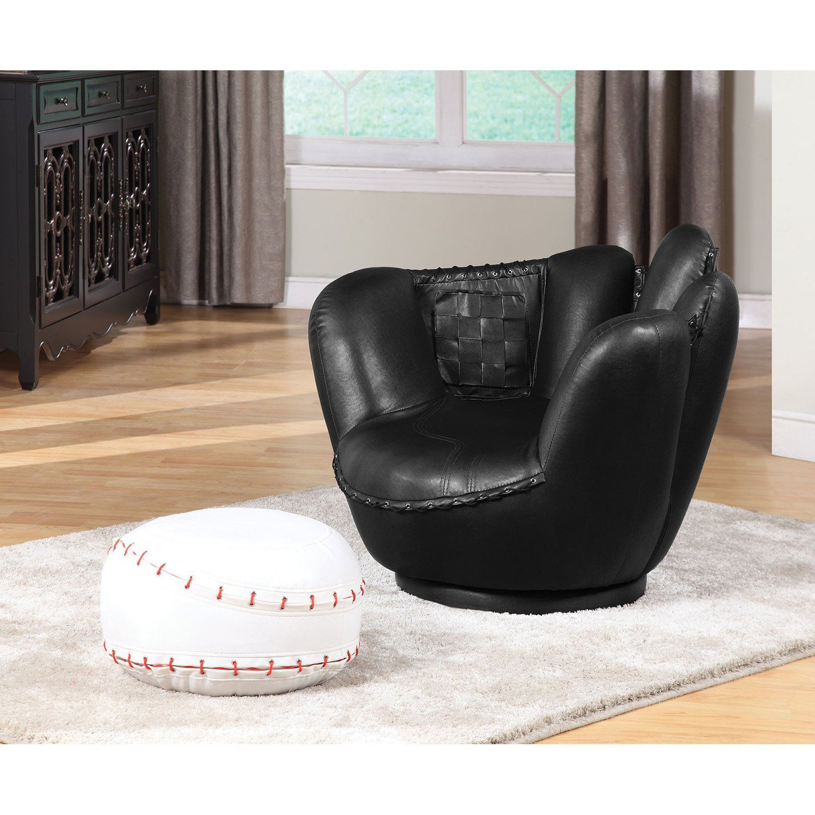 Acme Furniture All Star Kids Baseball Mitt Chair And Ottoman   05522