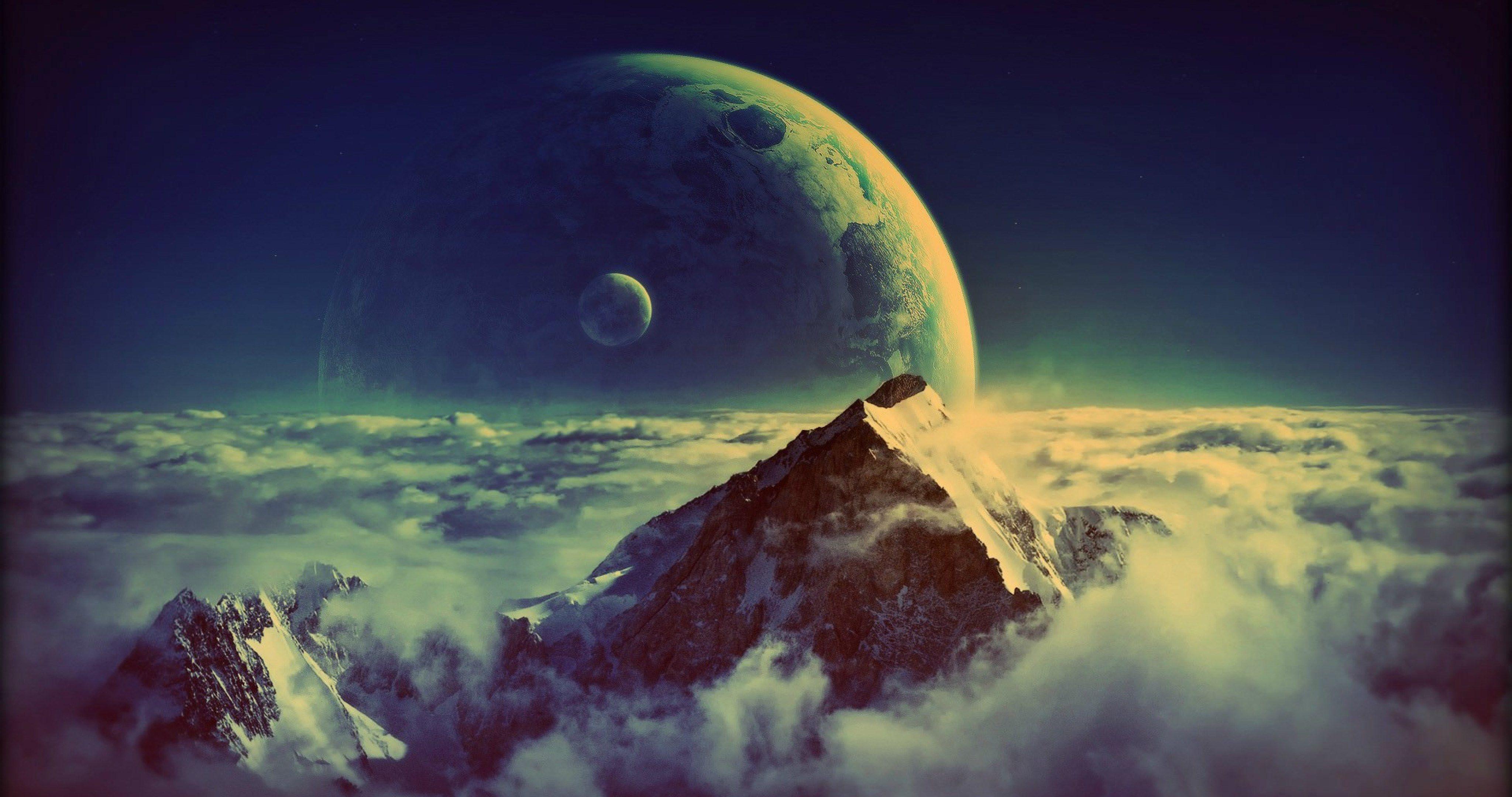 alien planet orbit 4k ultra hd wallpaper   Mountain ...