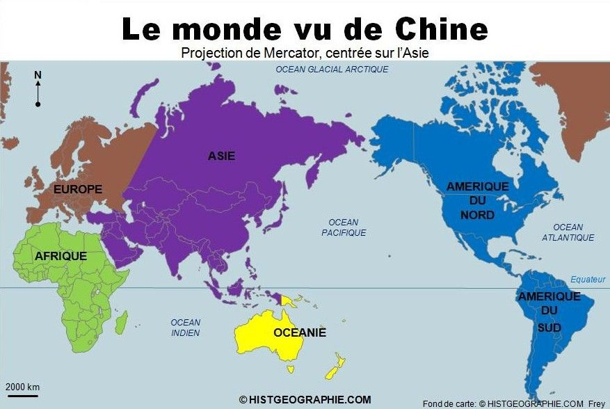 Extrêmement Le monde vu de Chine, projection Mercator. Source  FE64
