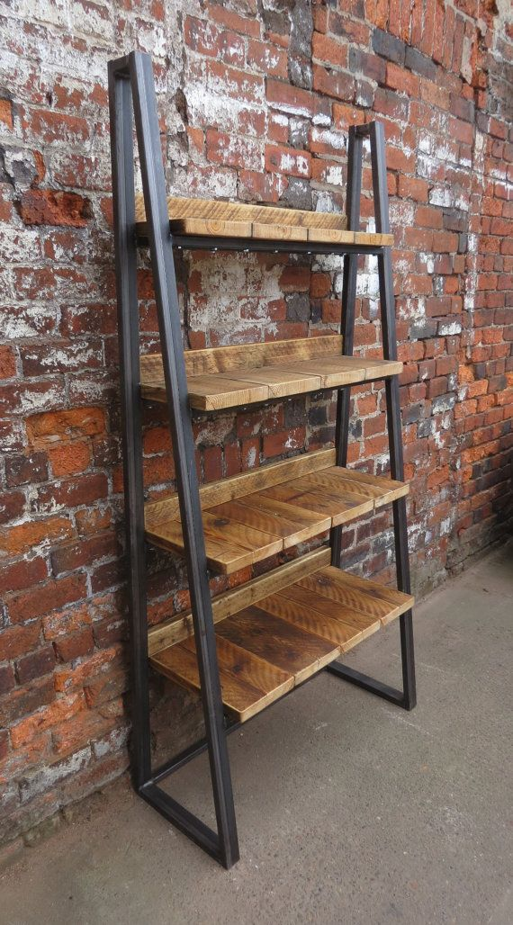 industrial chic reclaimed custom trapezium bookcase media shelving unit dvd books cafe office. Black Bedroom Furniture Sets. Home Design Ideas
