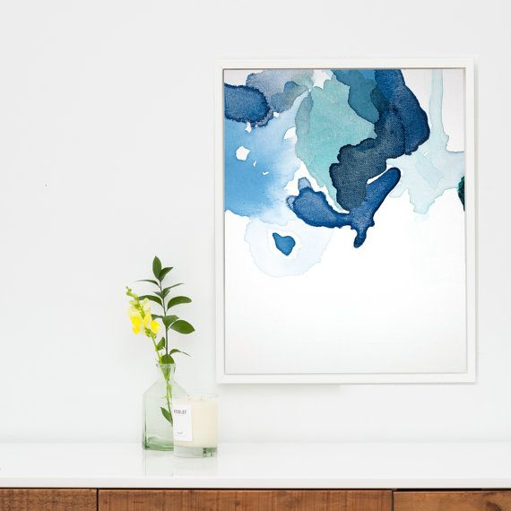 Navy blue abstract canvas art large abstract by viviancaits