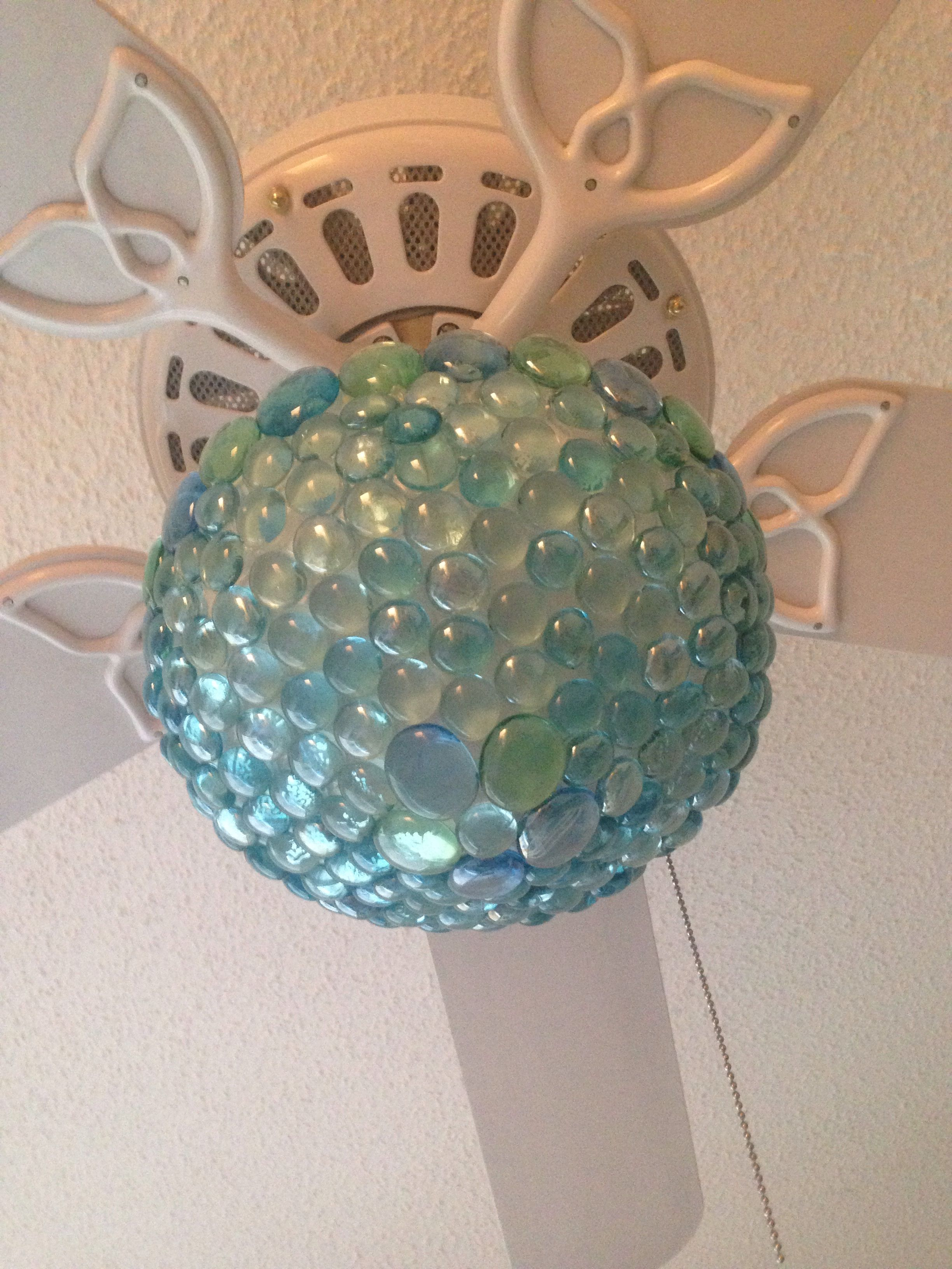Turquoise Aqua Ceiling Fan Light Globe After Diy Makeover With Aqua Glass Pebbles From The Doll Ceiling Fan Makeover Diy Ceiling Fan Ceiling Fan Light Globes