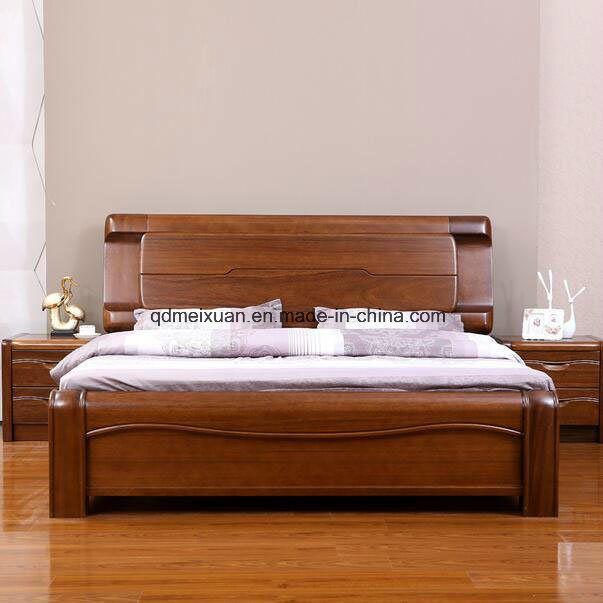 Camas matrimoniales modernas de la base de madera s lida for Camas modernas matrimoniales
