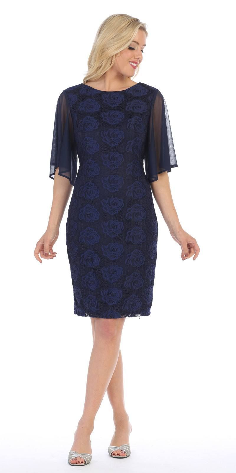 Sheer Flutter Sleeves Wedding Guest Dress Navy Blue Wedding Guest Dress Long Sleeve Cotton Dress Short Lace Dress [ 1600 x 800 Pixel ]