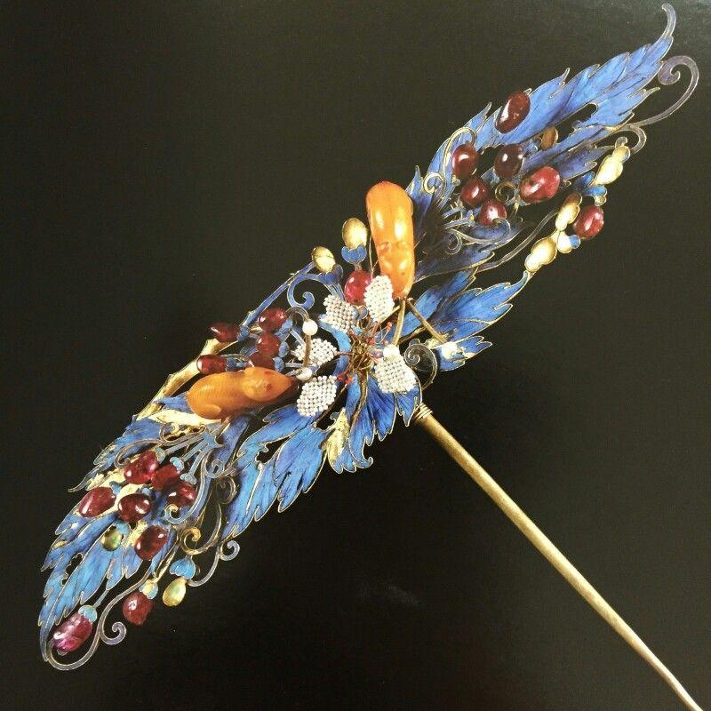 Chinese kingfisher hair ornament Chinese hair