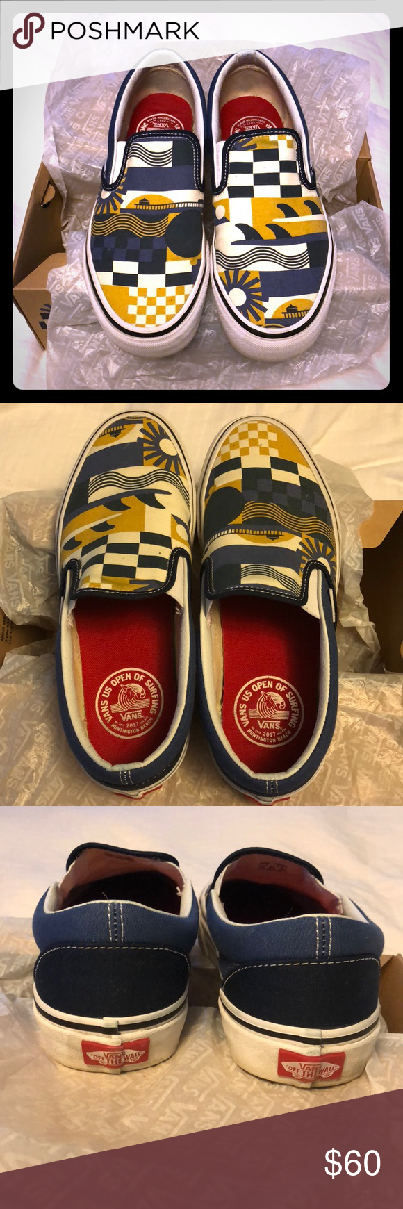 922d3dbaf0d Vans x US Open of Surfing Gently used Vans x US Open of Surfing 2017. Men s  size 7   Women s size 8.5. Shoes always stored in original box and worn  only a ...