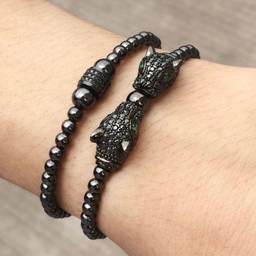 Men/'s Rhodium Plated Disco CZ Panther Leopard Macrame Beaded Bracelet Handmade