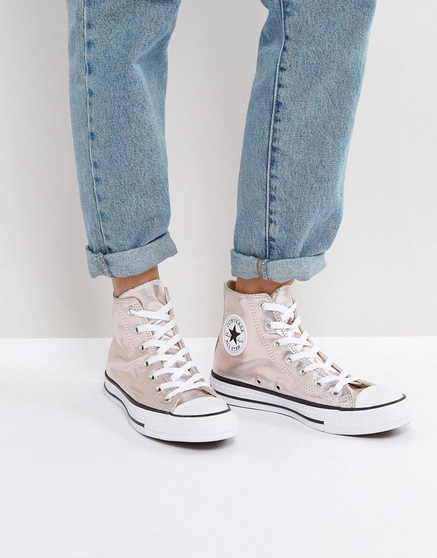 ba84c93121f7 Converse Chuck Taylor All Star Hi Top Metallic Trainers In Rose - Pink   Trainers by Converse