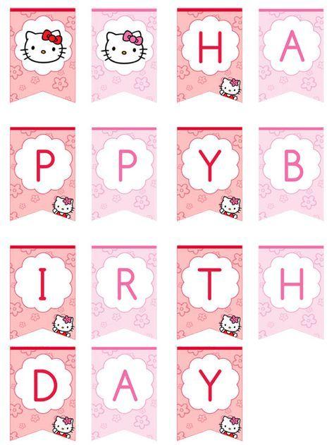 Hello Kitty Hy Birthday Banner By Printabletreats