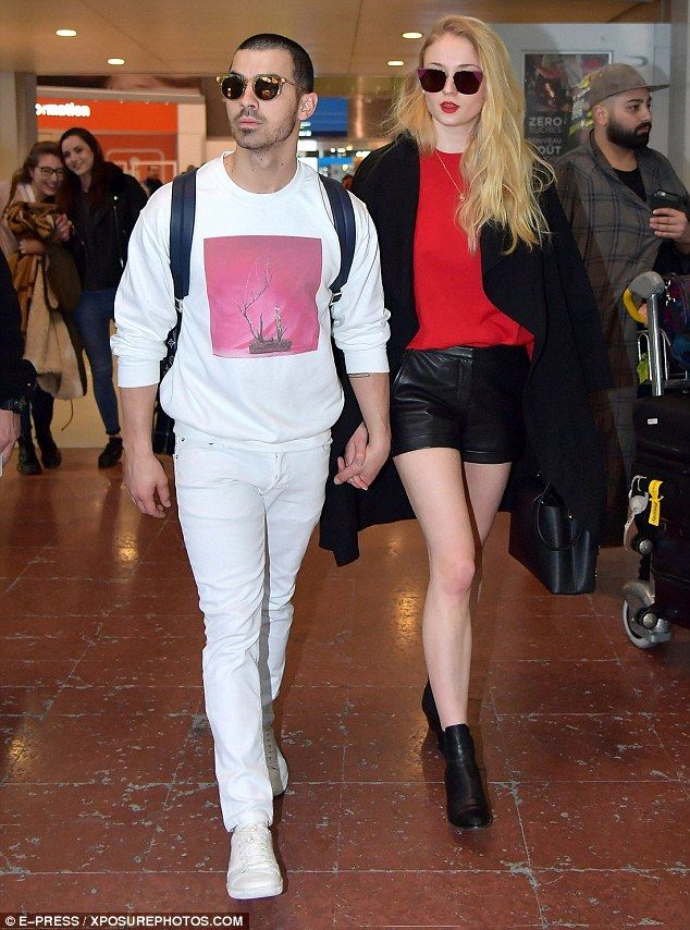 Touching down: Sophie Turner and Joe Jonas continued their whirlwind romance as they jetted to Paris on Monday