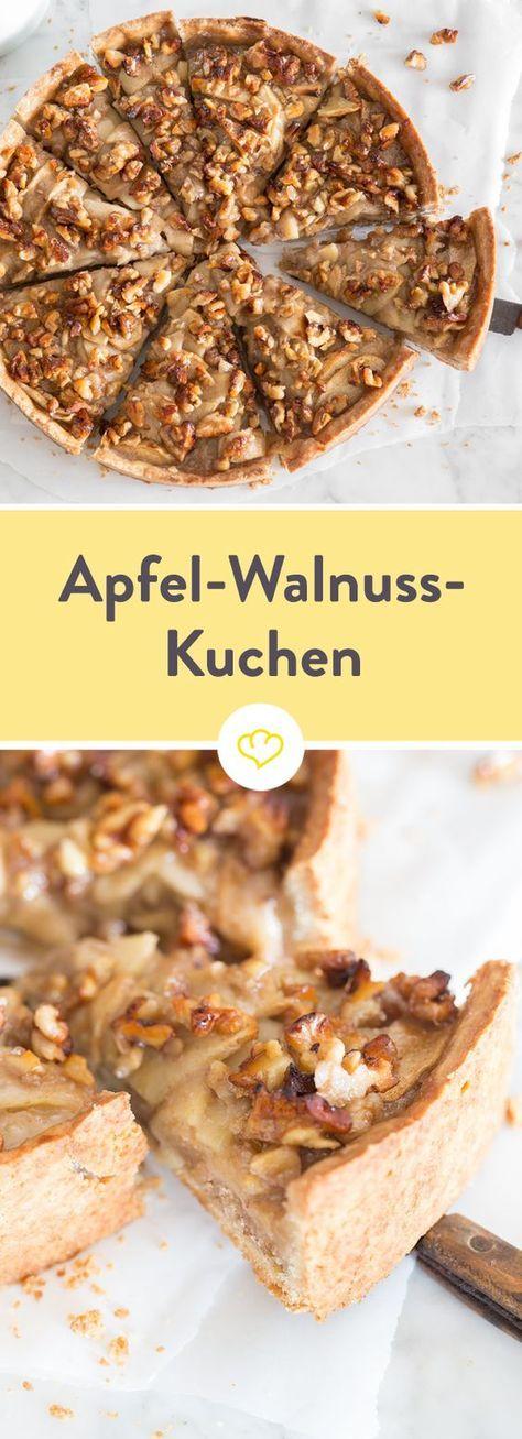 Apfel-Walnuss-Kuchen mit cremiger Füllung #apfelmuffinsrezepte