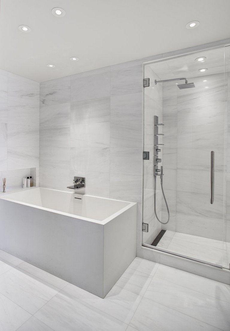 35 Stunning Modern Minimalist Bathroom Design Ideas With White Color Bathroom Bathroom Minimalist Bathroom White Marble Bathrooms Minimalist Bathroom Design