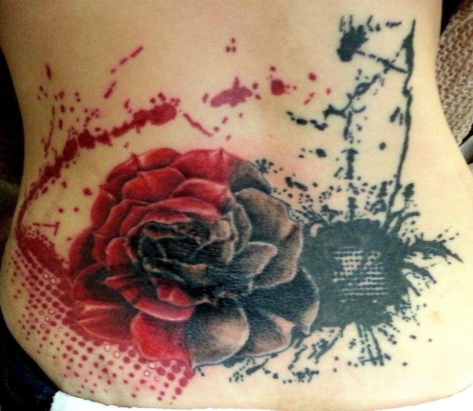 Rose Tattoos With Words Google Search: Trash Polka Rose Tattoo