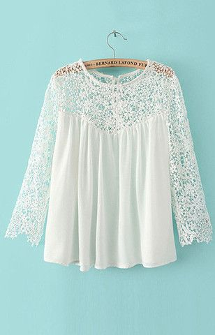 e0ffd0590581a5 Loose Fit Transparent Lace Chiffon Blouse – Trendy Road | My Style ...