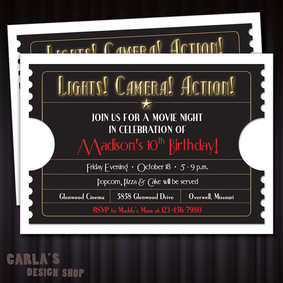 Lights! Camera! Action! Movie Ticket PRINTABLE Invitation with - free printable movie ticket invitations
