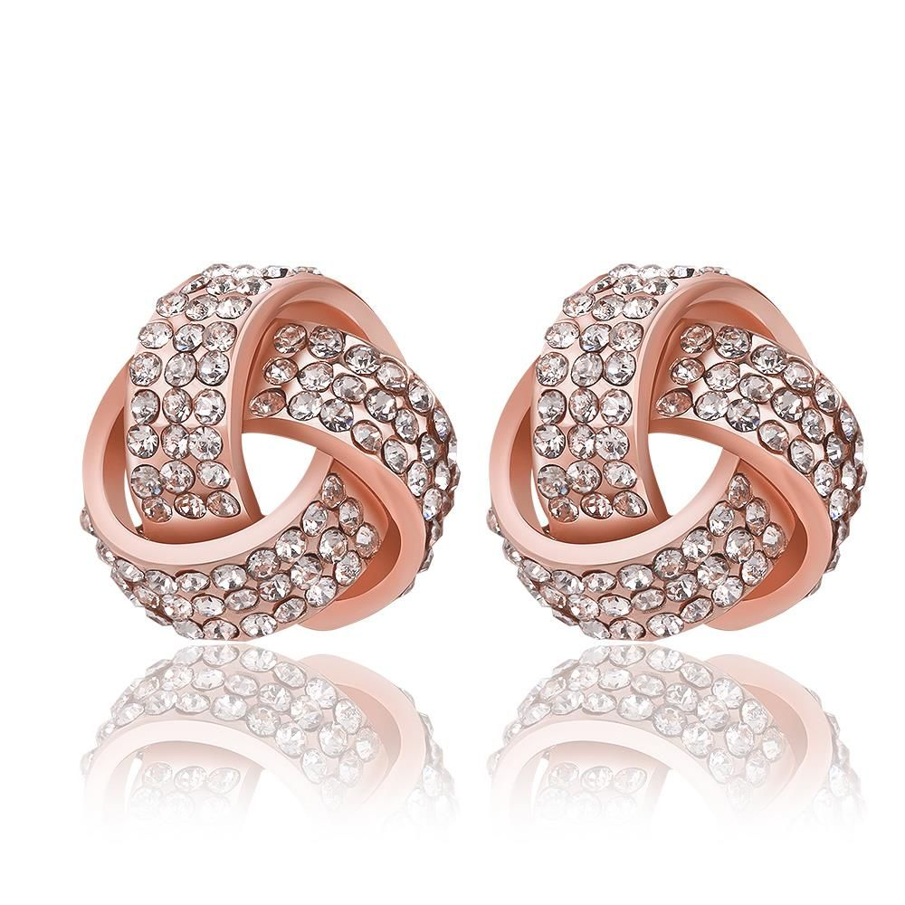 Womens Rose Gold Color Earrings Stud Rhinestone Crossed Ear Jewelry