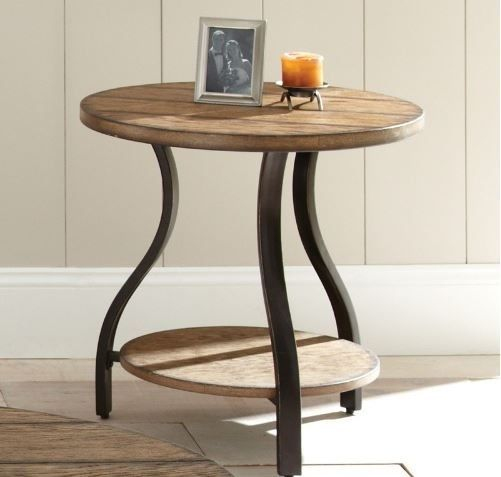 Round End Table Oak Finish Reclaimed Wood Distressed Rustic Metal