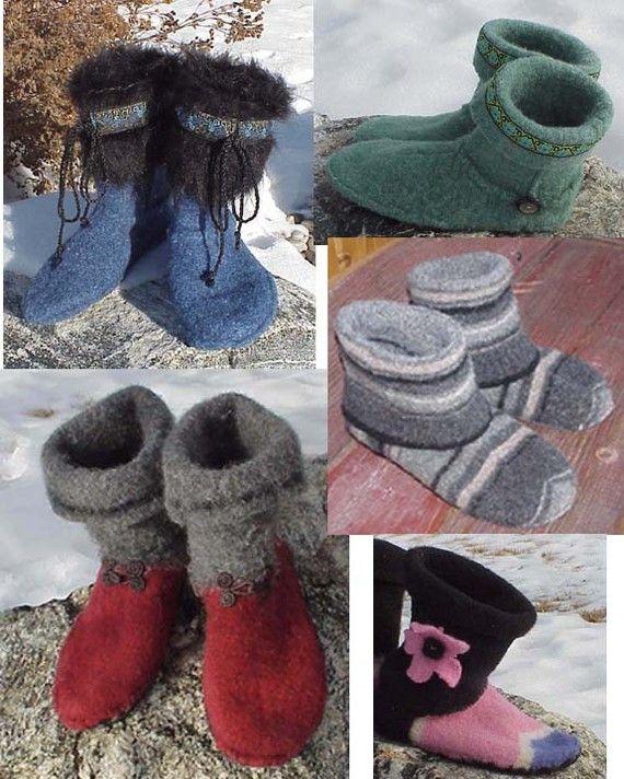 EZ Felted Slipper Boot Pattern CUT-SEW-FELT from Old wool Sweater