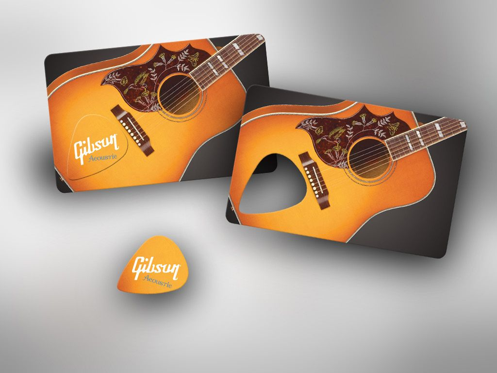 Plastic business card with a guitar pick pop out. Giving your ...