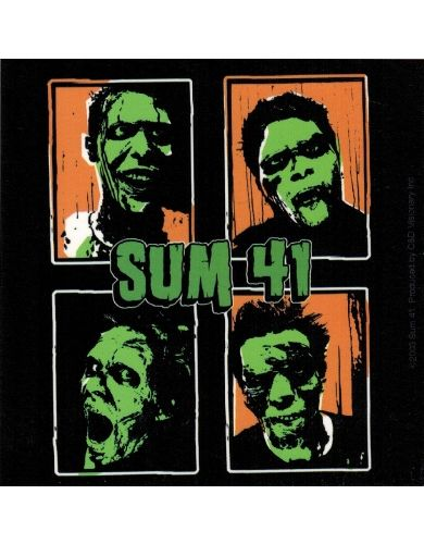 Sum 41 green faced band members sticker approximately 4 inches x 4 inches 10