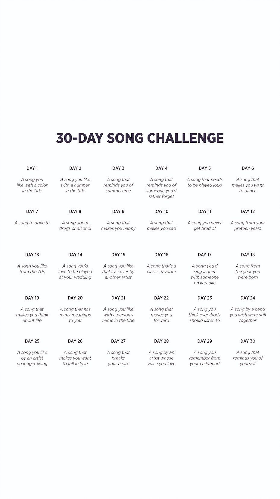 Single Post 30 Day Song Challenge Song Challenge 30 Day Music