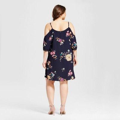 aaeab77333 Women s Plus Size Floral Crochet Cold Shoulder Dress - Xhilaration Blue 1X