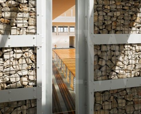 Gabion Wall Details - Stone In Metal Lath And Aluminum Frame
