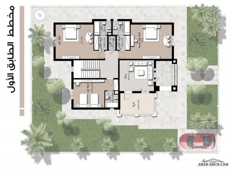 نموذج مسكن خليجى 4 غرف نوم 370 متر مربع طابقين Square House Plans Model House Plan New House Plans