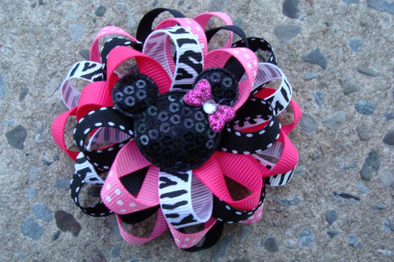 Hair bow mouse hair bow pink and black hair bow loopy flower hair
