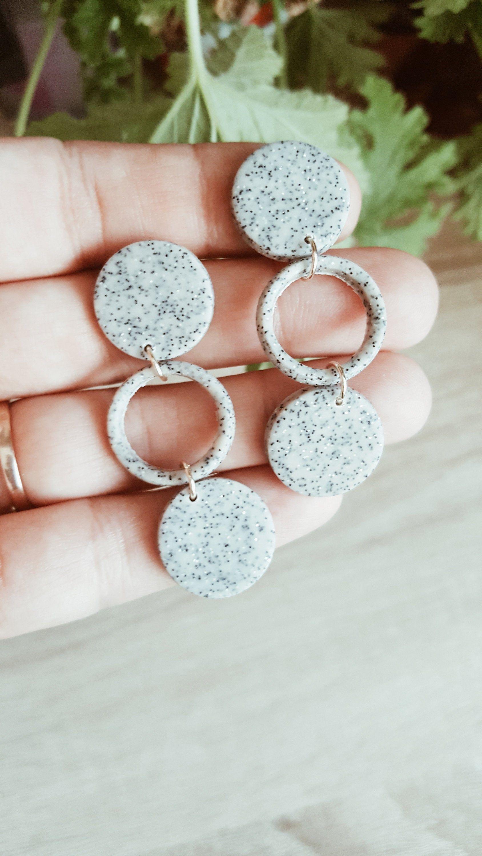 Dora/ in Granite. Polymer Clay Dangle Earrings. Granite Gray Earrings. Minimalist Simple Earrings