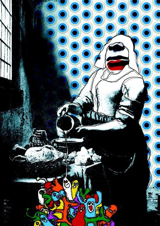 melkmeisje op canvas