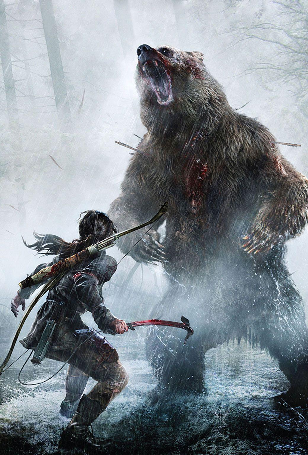 Обои lara croft, tomb raider, Медведь. Игры foto 11