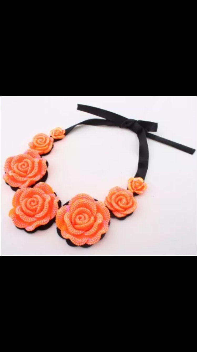 ✨crystal flower bib necklace ✨ ______________________________________________________ #fashion #jewelry #style #jewelrylover #boutique #eyecandy #bib #necklace #chic #unique #neon #orange #flower #crystal  www.mommymoiselle.storenvy.com