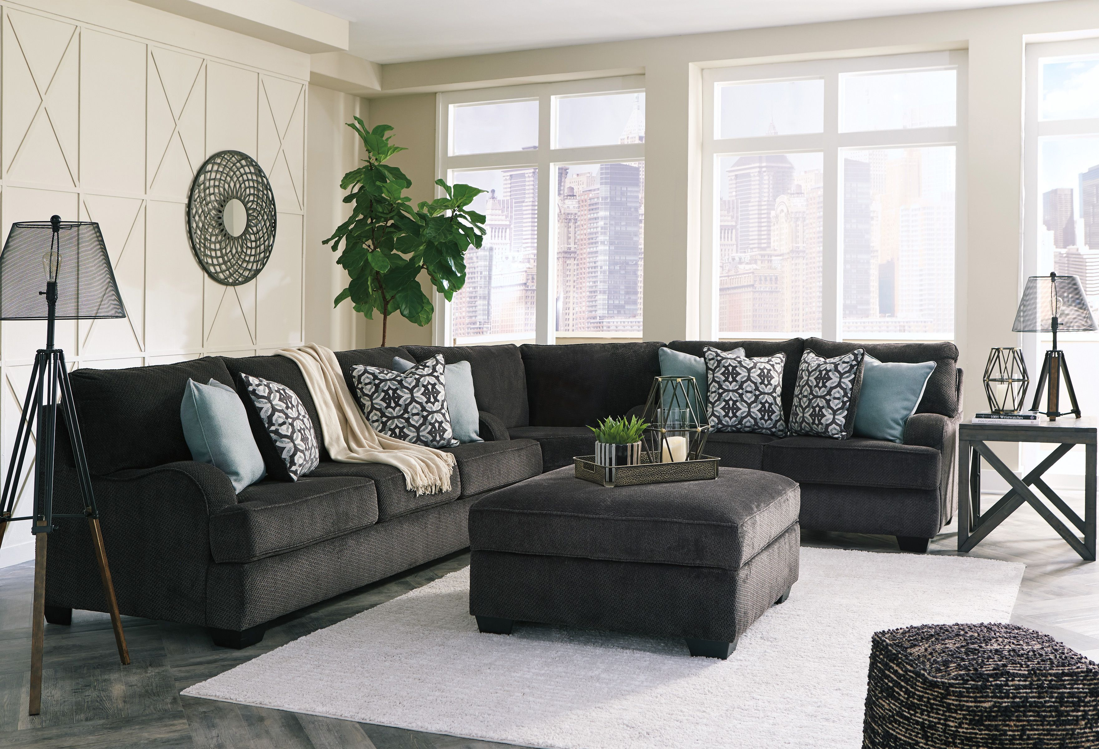 Best Contemporary Style Living Room Charcoal Sofa With Pillows 400 x 300