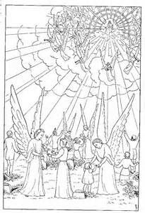 Jesus Christ second coming coloring page and angels around