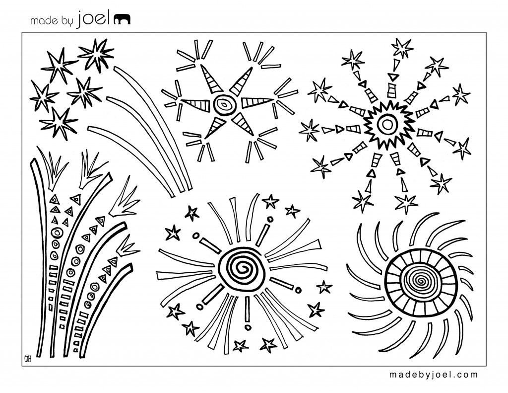 Made by Joel Fourth of July Fireworks Coloring Sheet