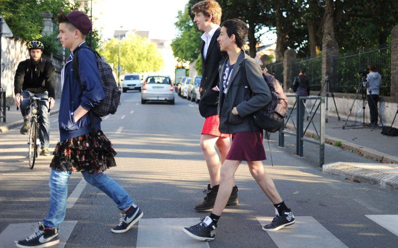 Schoolboys in France stirred up gender norms when they eschewed pants last week. But men in skirts shouldn't be a provocative sight…it should be a choice as normal as women in pants.