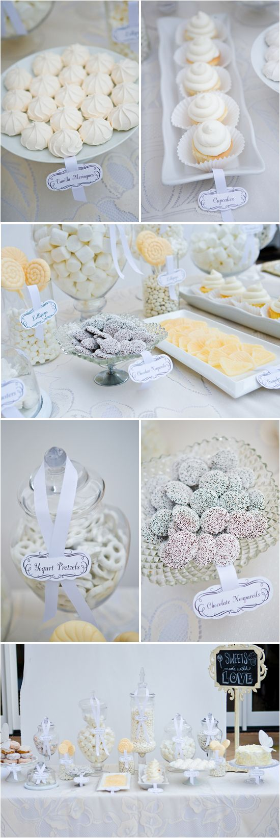 White / Cream / Ivory Candy & Dessert Tables | Wedding candy ...