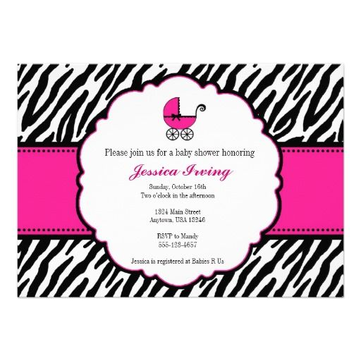 hot pink and zebra print baby shower invitation | zebra print, Birthday invitations