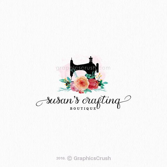 Sewing Logo Design Sewing Machine Logo Watercolor by GraphicsCrush
