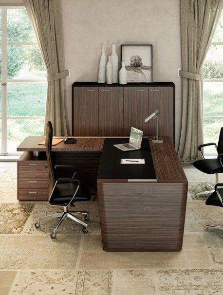 Grand Bureau De Direction Moderne Et Elegant Avec Retour Et Insert En Cuir Secoya Bureau Direction Bureau Grand Bureau
