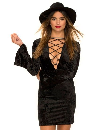 Witchy Flared Sleeve Bodycon Dress in Velvet Black by Motel