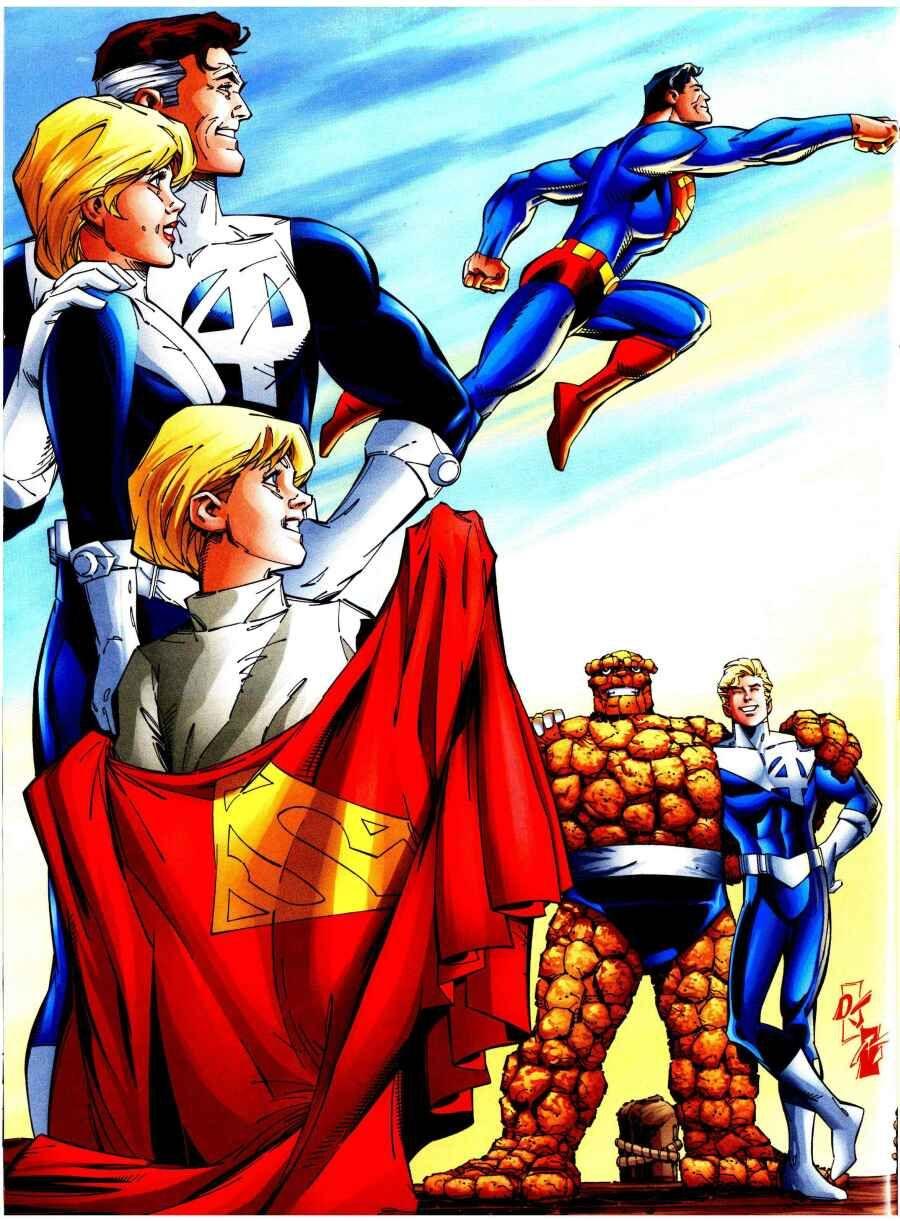 superman fantastic four dc marvel crossover pinterest