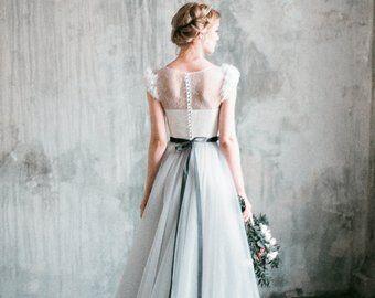 wedding dress neva // romantic grey wedding dress lace
