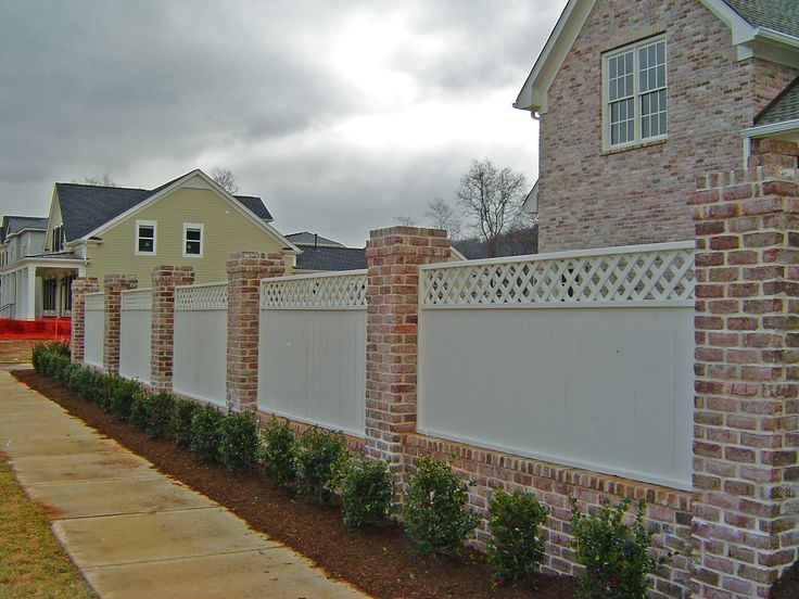 Image Result For Brick And Pvc Fence Brick Wall Gardens Brick Columns Brick Fence