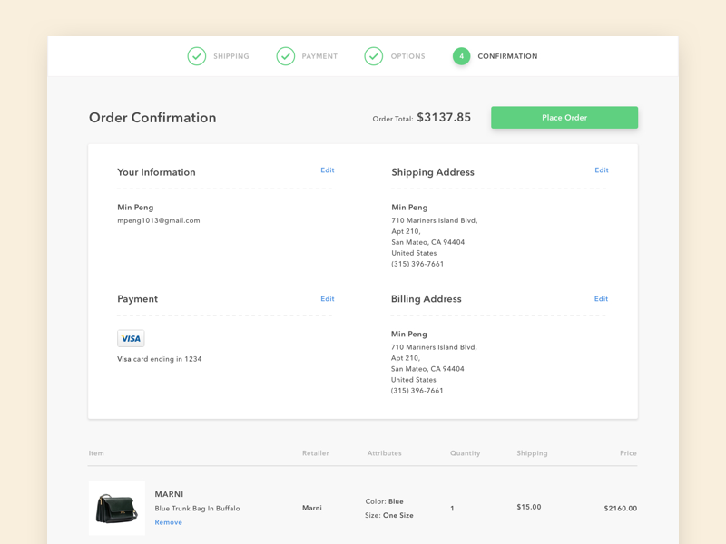 Order Confirmation Page | UX/UI | Confirmation page, Ui